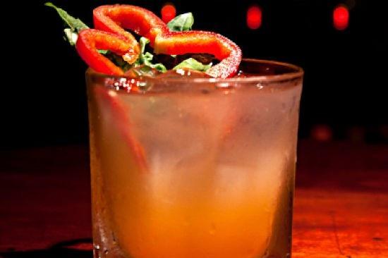 Pepper Smash - fresh lemon juice, red bell pepper, basil, honey, garnished with red bell pepper & basil