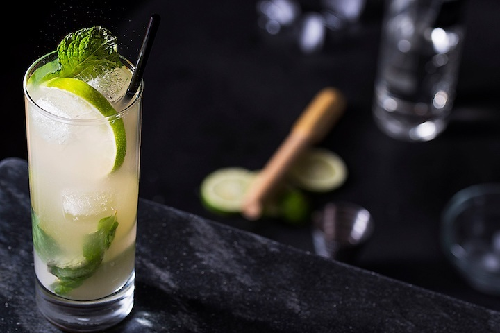 Mojito - fresh lime juice, mint, homemade cane syrup, club soda, garnished with a mint sprig