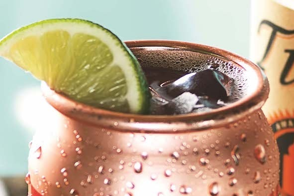 Moscow Mule - fresh lime juice, homemade ginger syrup, club soda, garnished with a lime wheel & mint