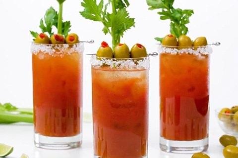 Bloody Mary - tomato juice, celery salt, pepper, citrus, olive juice, horseradish, Tobasco, Worcestershire