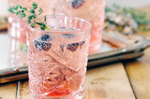 Blackberry Thyme Bellini - fresh lemon, blackberry puree, thyme, garnished with blackberries & thyme