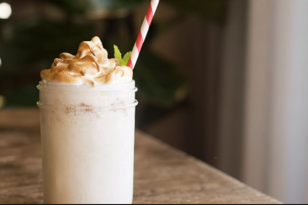 Drunken Meringue - vanilla ice cream infused with lemon zest, fresh lemon, garnished with a meringue topping