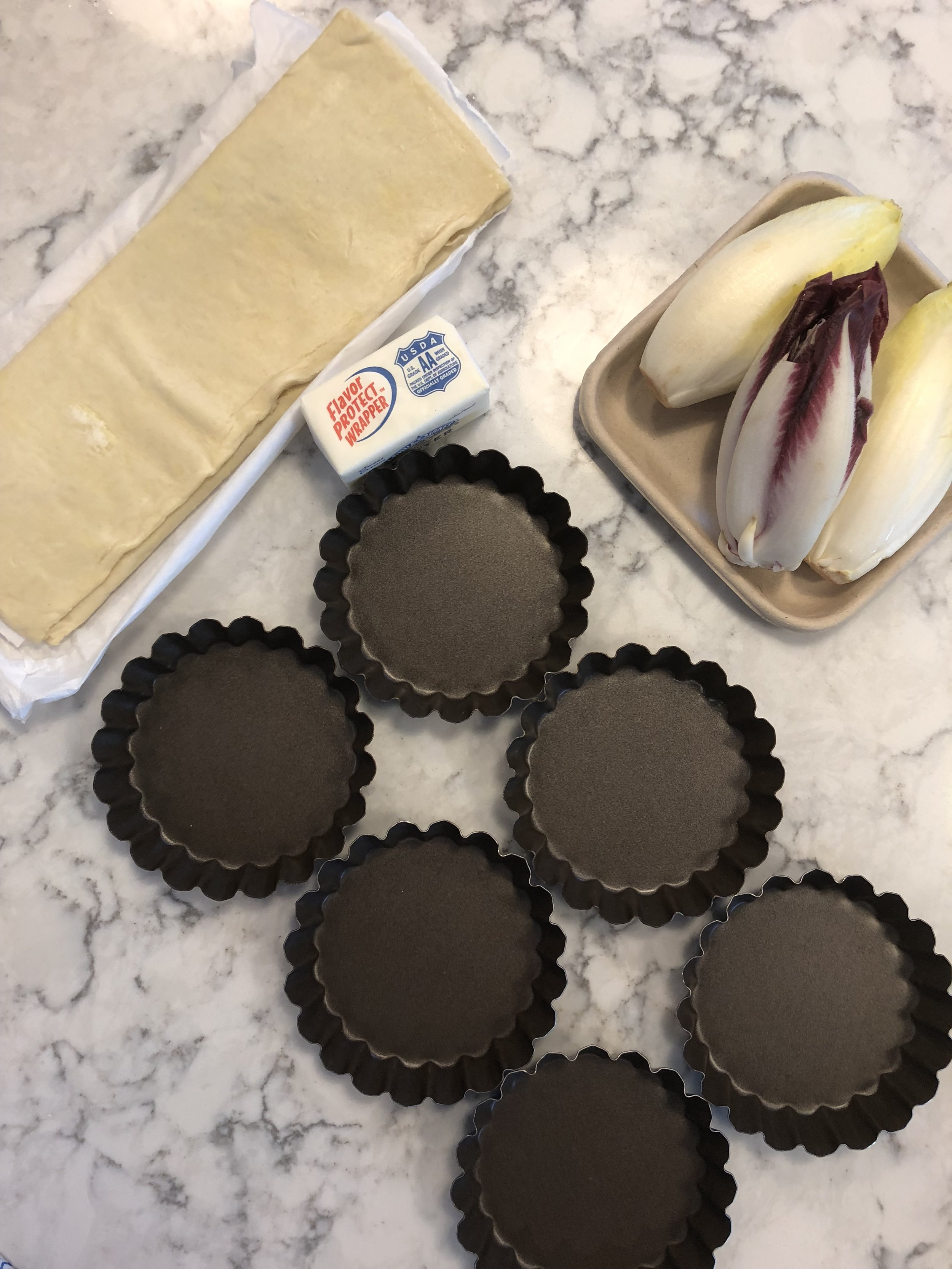 Ingredients - Note tart pans can not have a removable bottom. I purchased these at Williams-Sonoma but I have an Amazon link below.