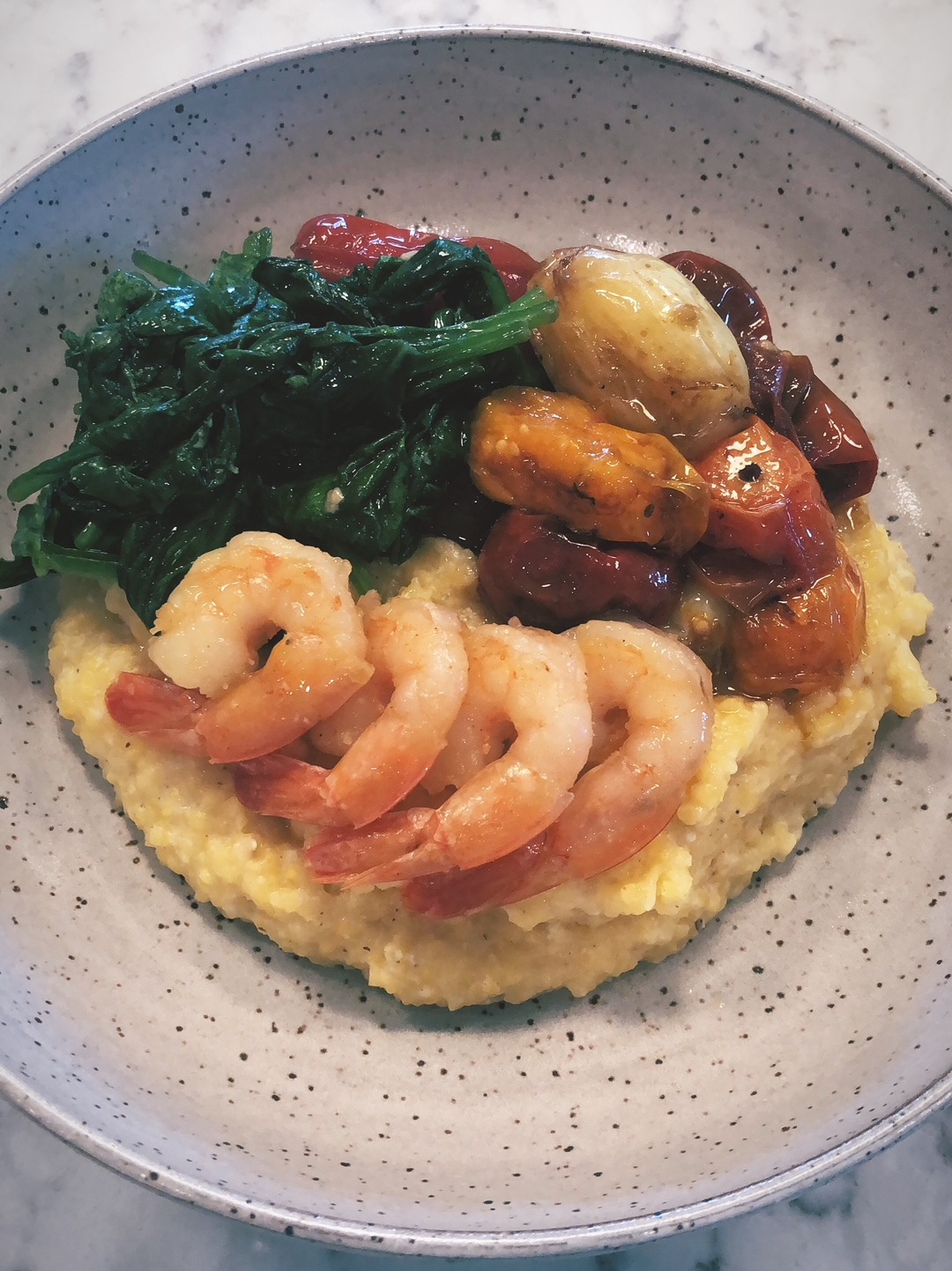 Shrimp and Grits with Slow Roasted Tomatoes and Spinach