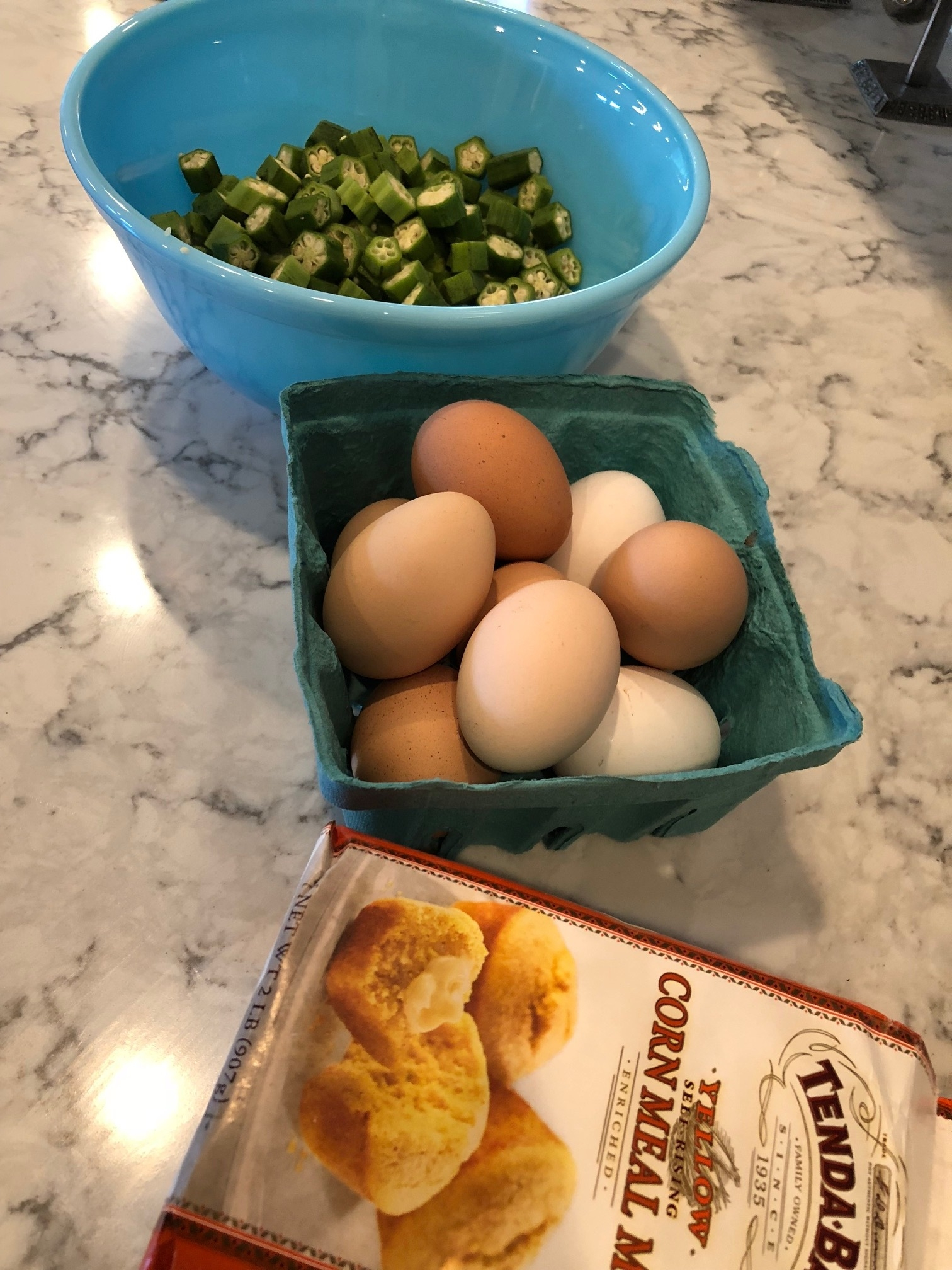 3 Main ingredients. Okra, Eggs and corn meal