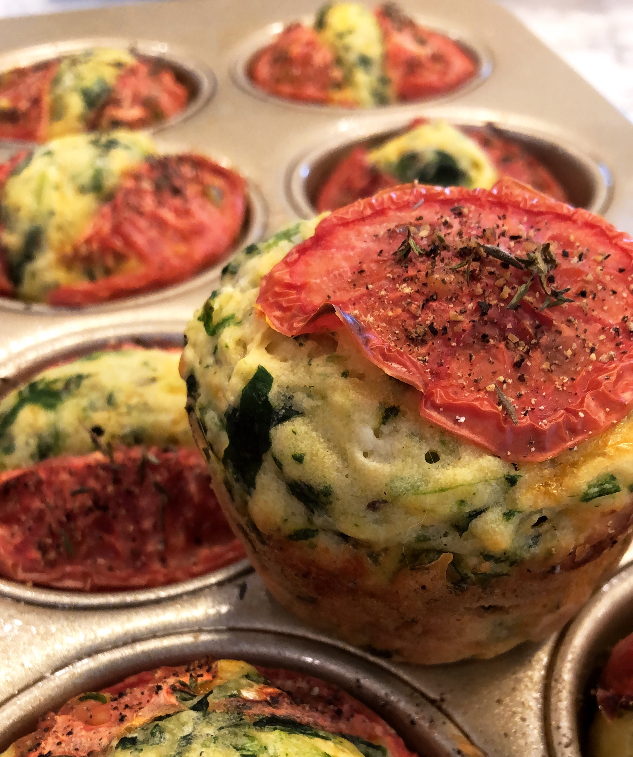 Spinach Muffins Feta Thyme tomato