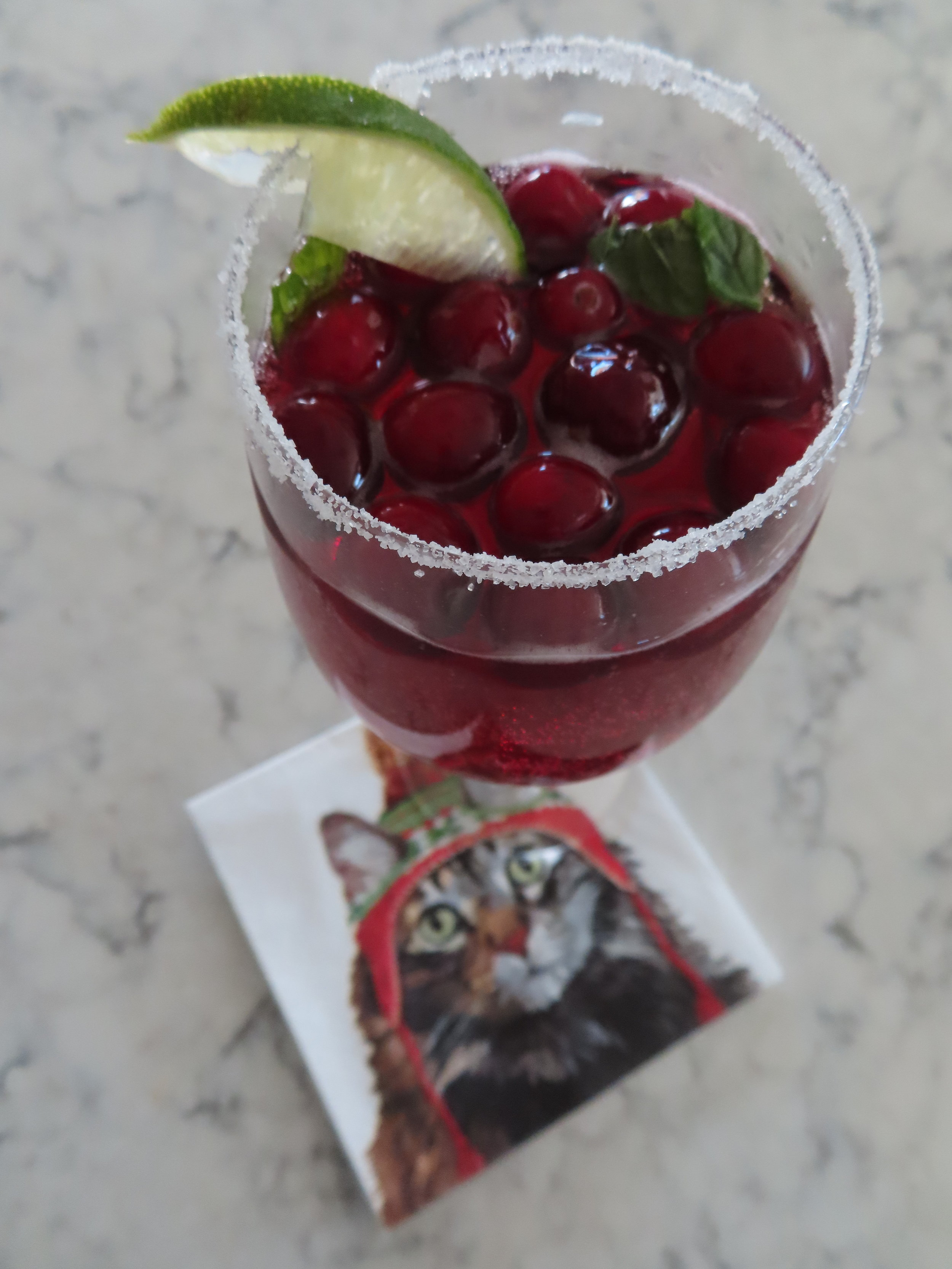 Holiday Christmas spritzer cranberries prosecco vodka mint