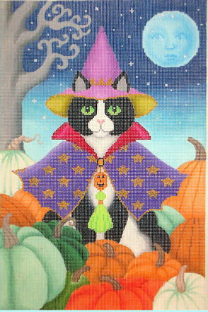 Black Cat w/ Heirloom Pumpkins, $156
