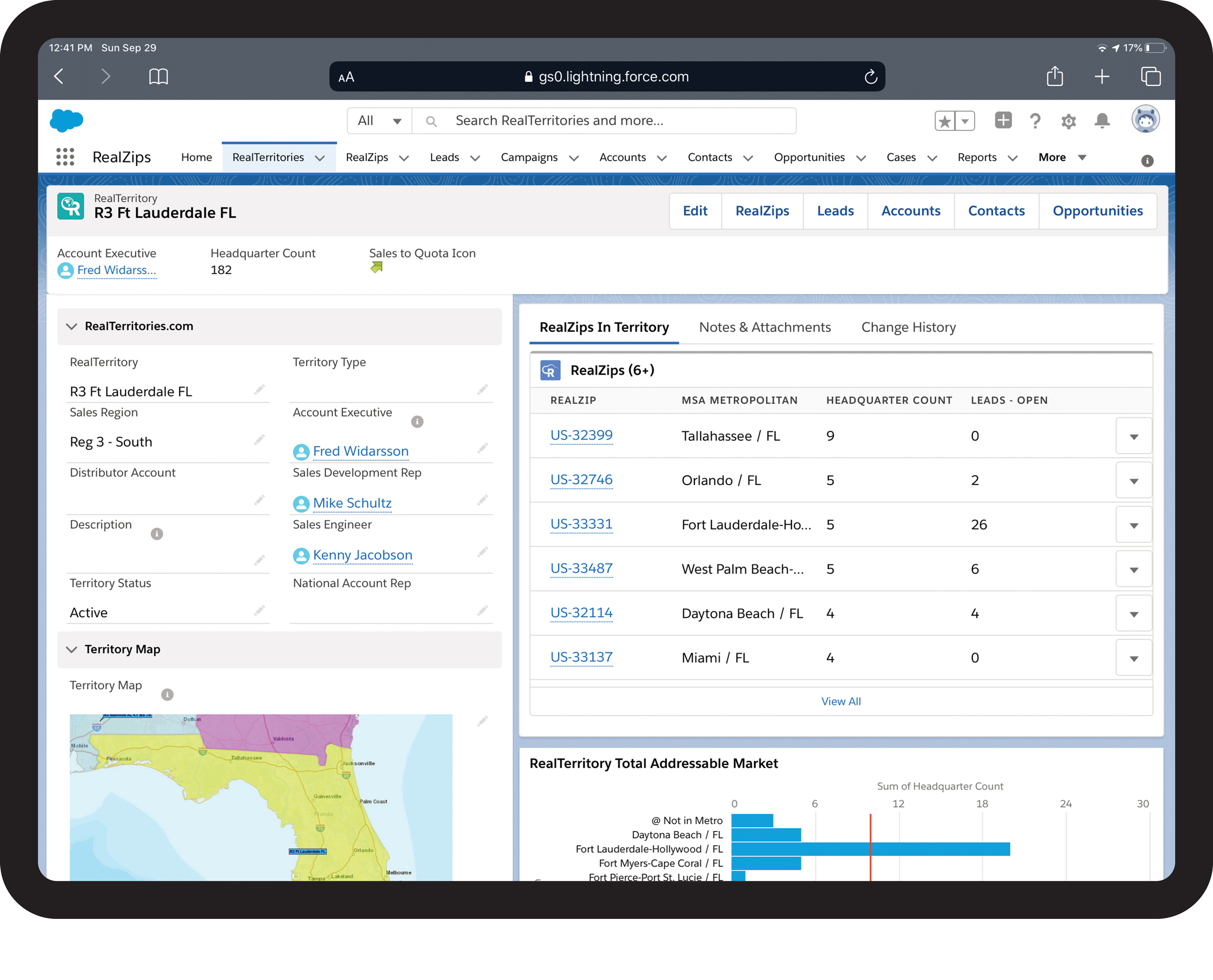 Review a territory with team members, geographic coverage, addressable market, and one-click reports.