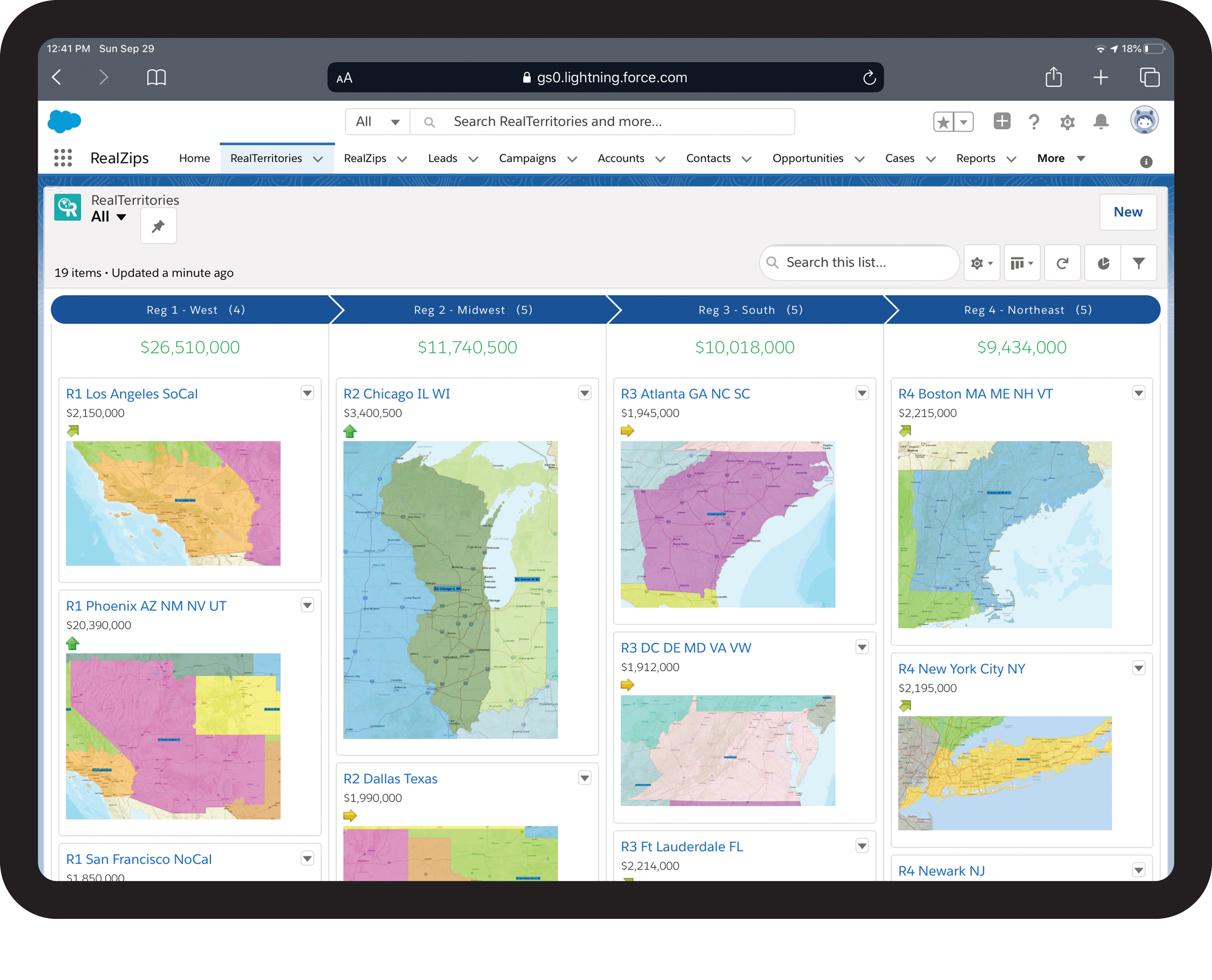 Give your team an overview of territories by regions, complete with continuously updated key metrics.