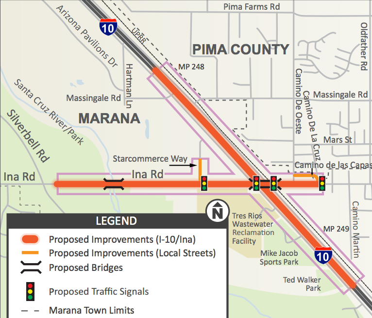 Map from the Ina Road Interchange Final Design information sheet.