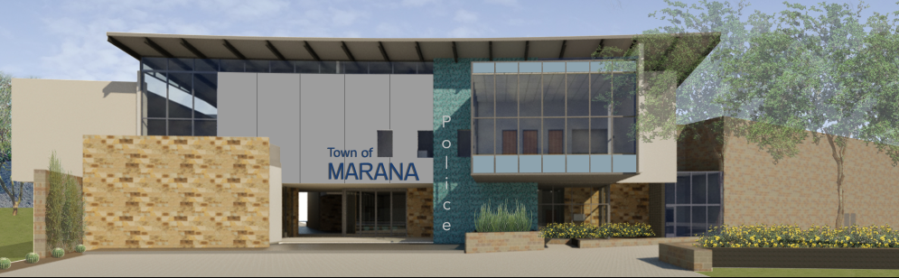 Concept drawing of the future Town of Marana Police facility