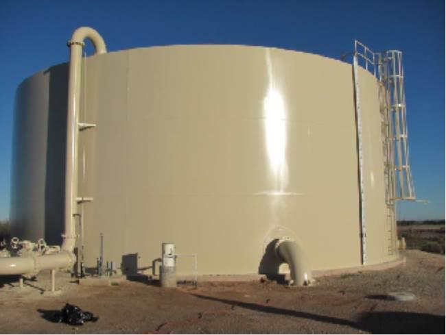 Freshly painted water storage tank