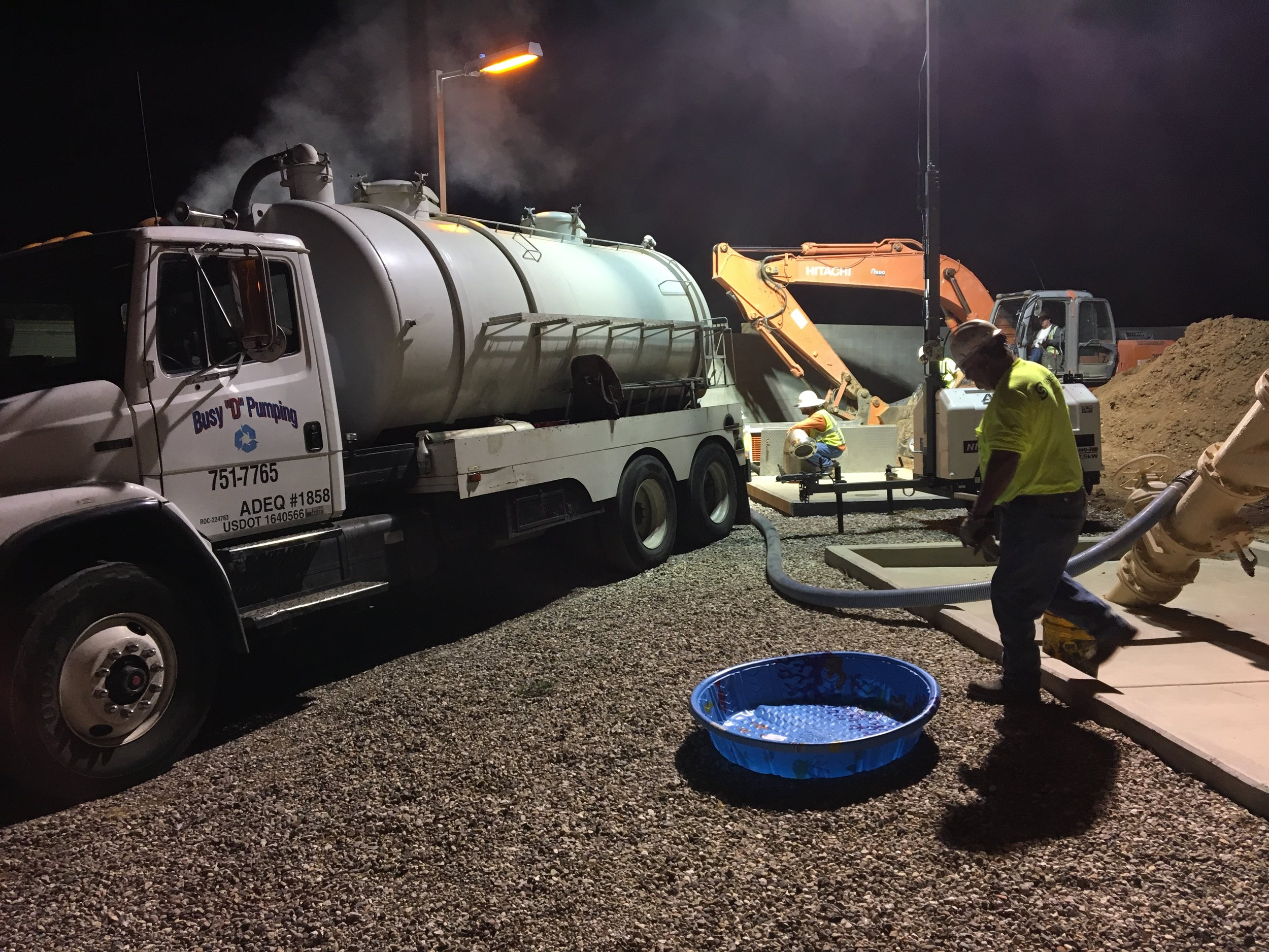 Pumping out the existing force main late at night