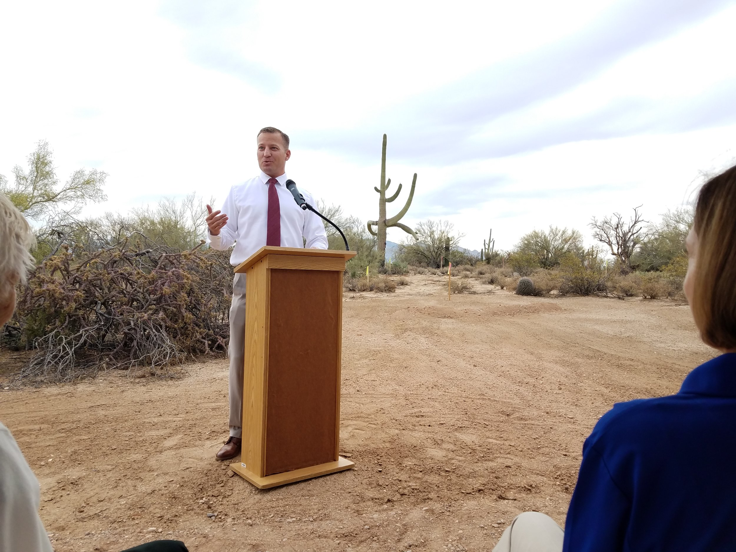 Town Manager Gilbert Davidson opens up the groundbreaking ceremony