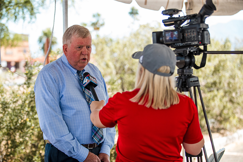 Mayor Ed Honea was interviewed by a local television station.