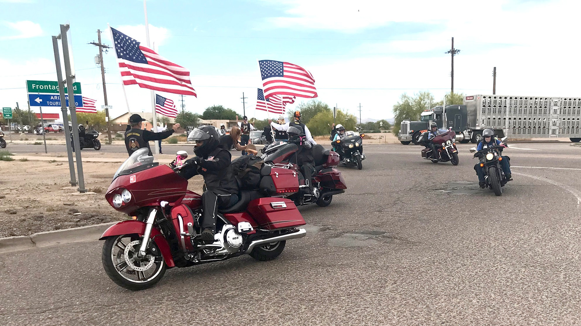 Motorcyclists participating in the annual Run for the Wall visited Marana on My 16.