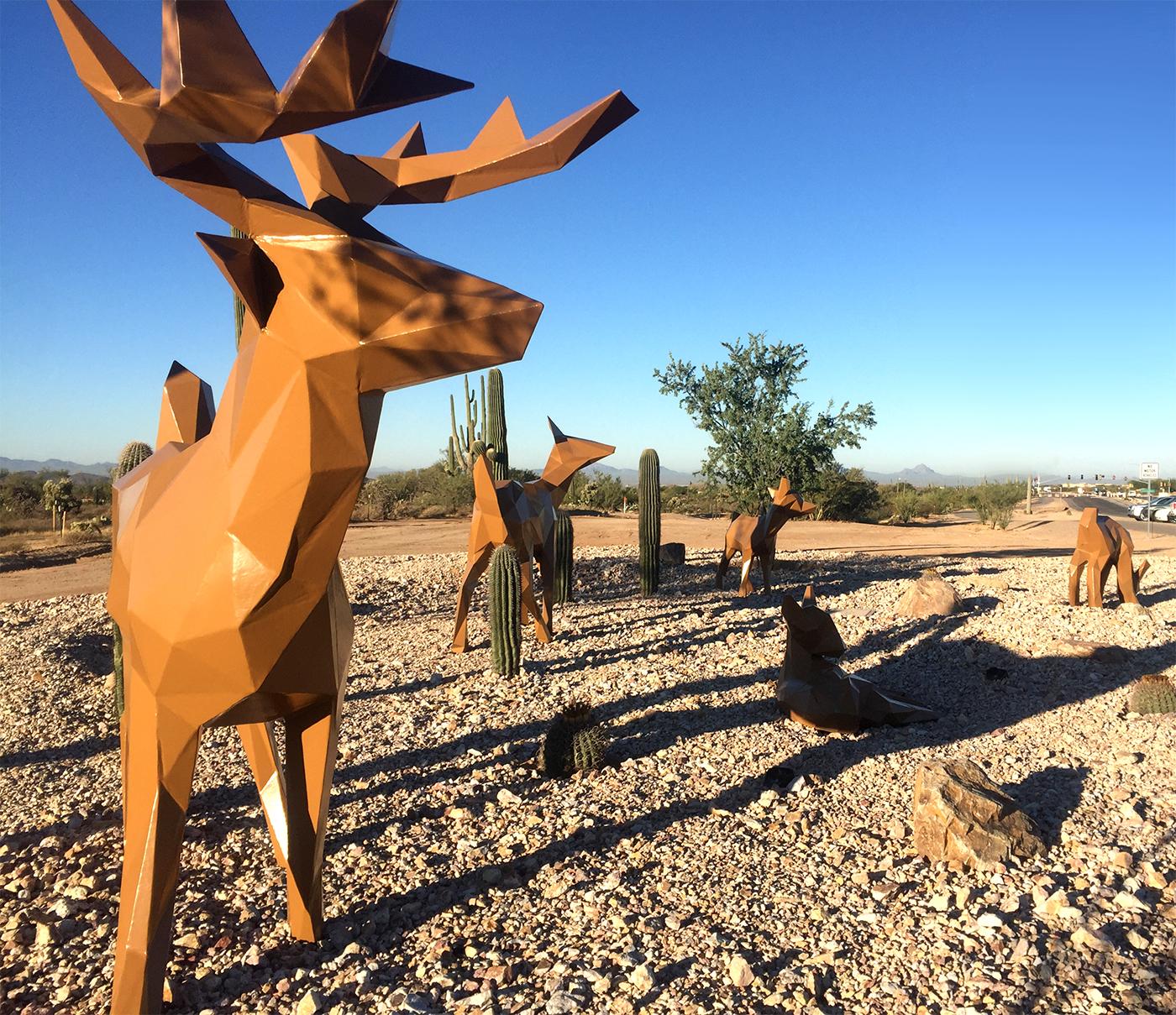 Deer statues on Tangerine Road.