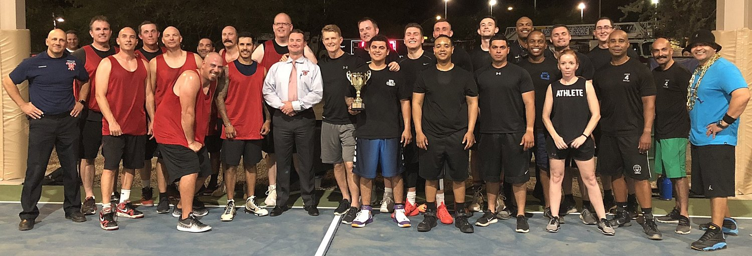 Group shot of 2018 Basketball Players from both Marana Police Department and Northwest Fire District