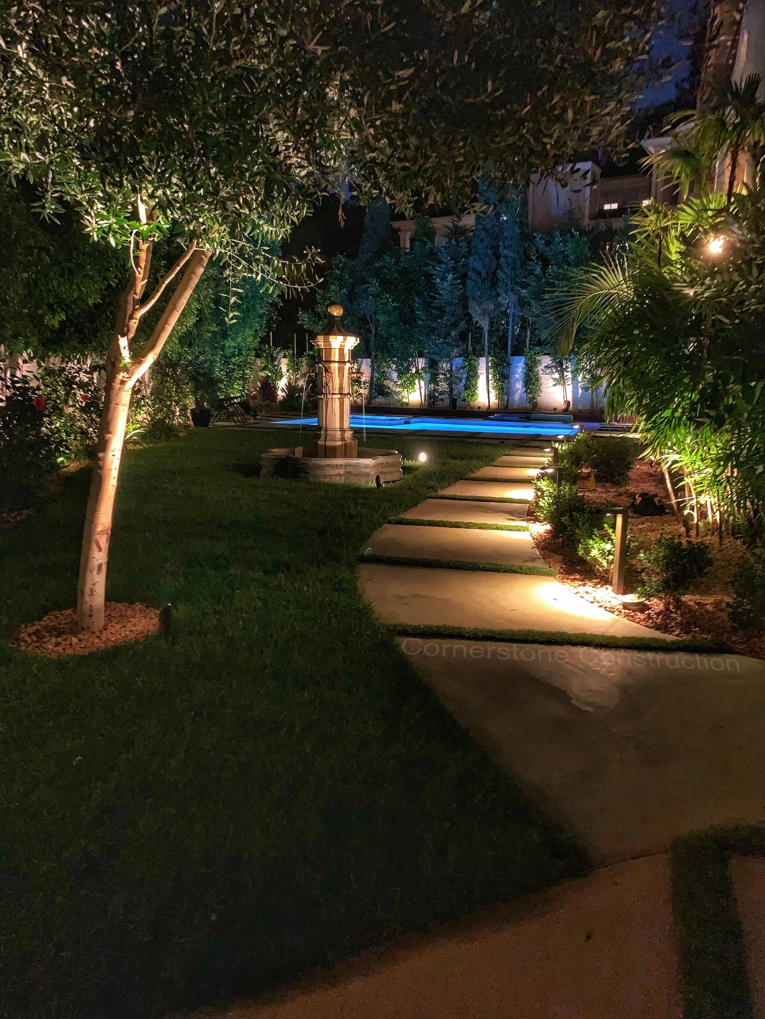 pavers and grass walkway in backyard