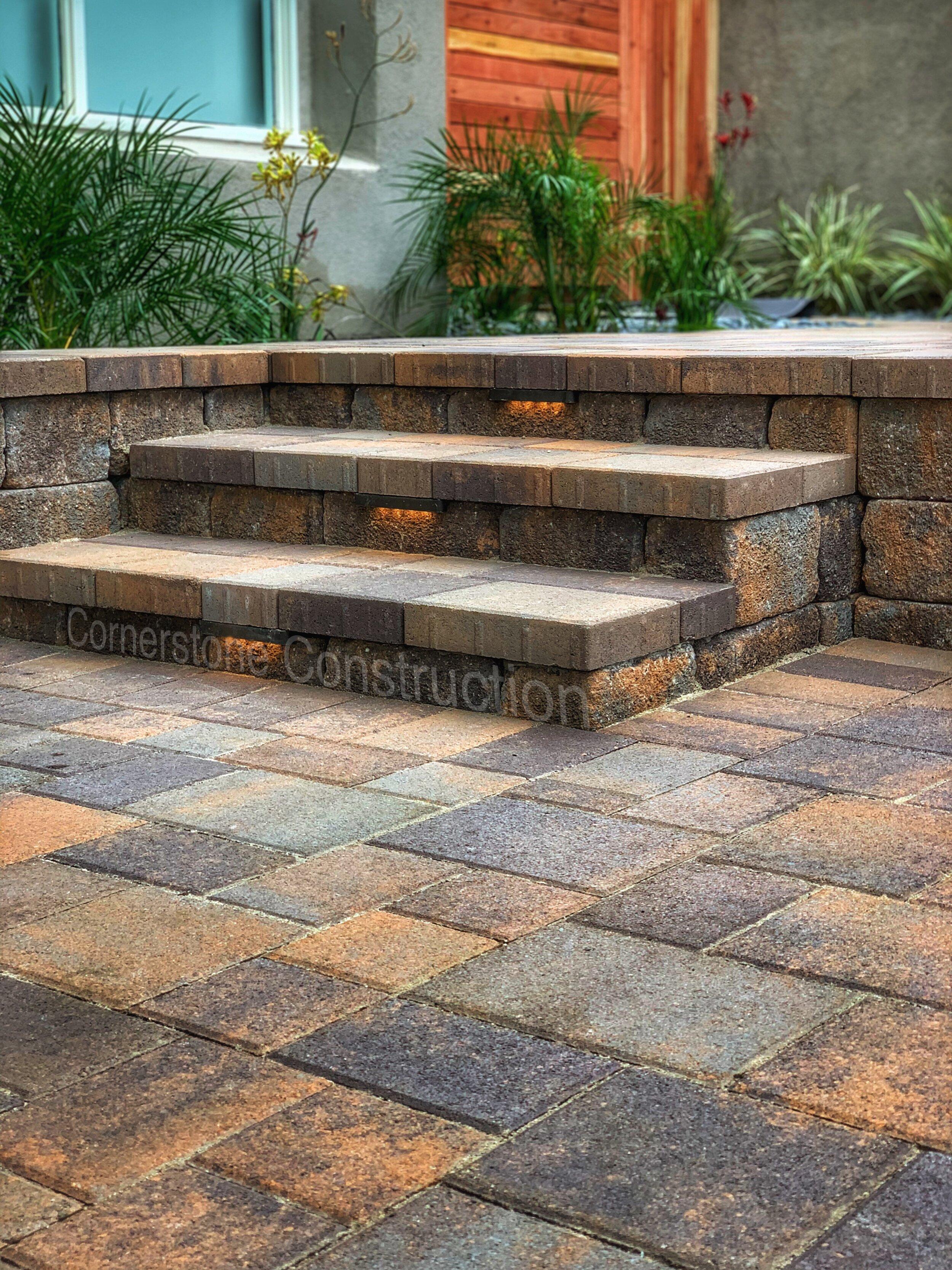 Stone steps in backyard