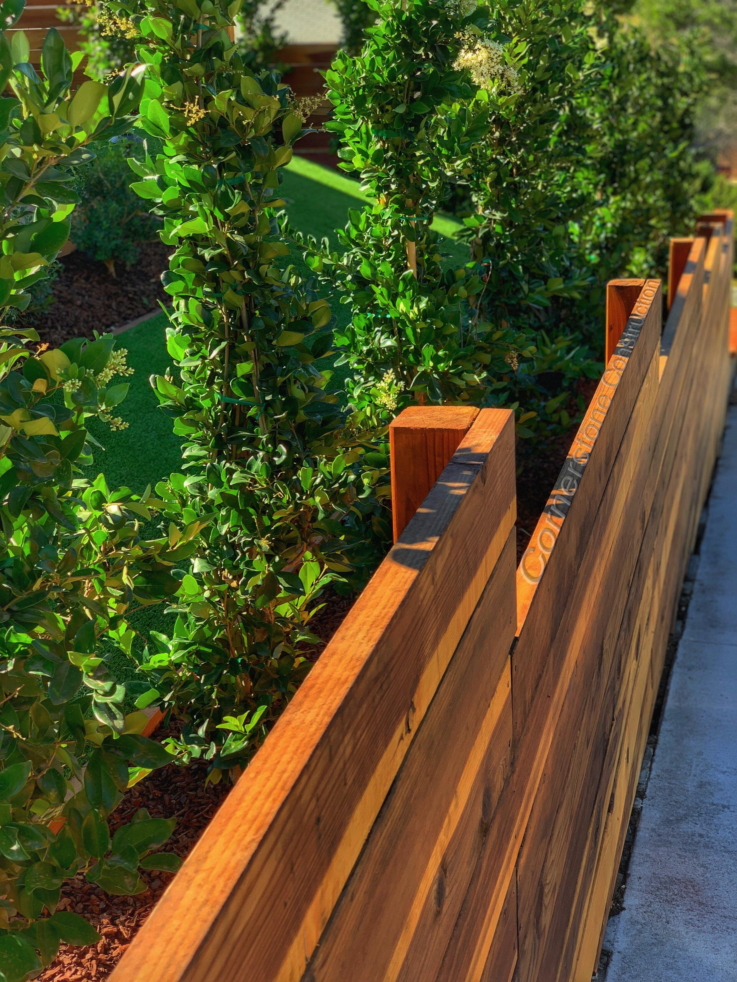 redwood fence in backyard