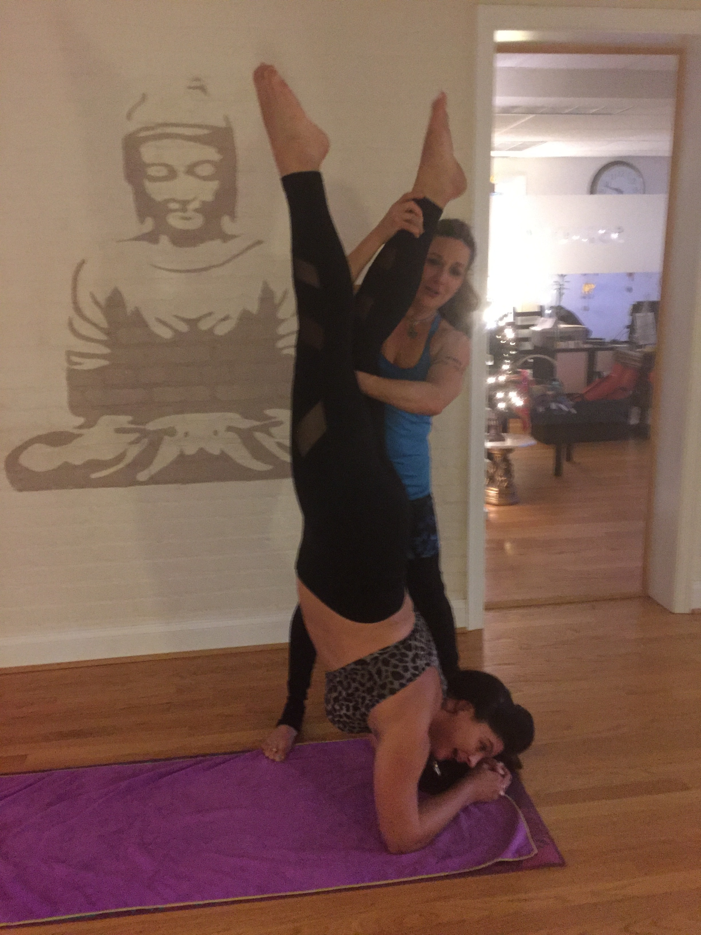 Silly fun with an assisted inversion, courtesy of Ginny at 532yoga!