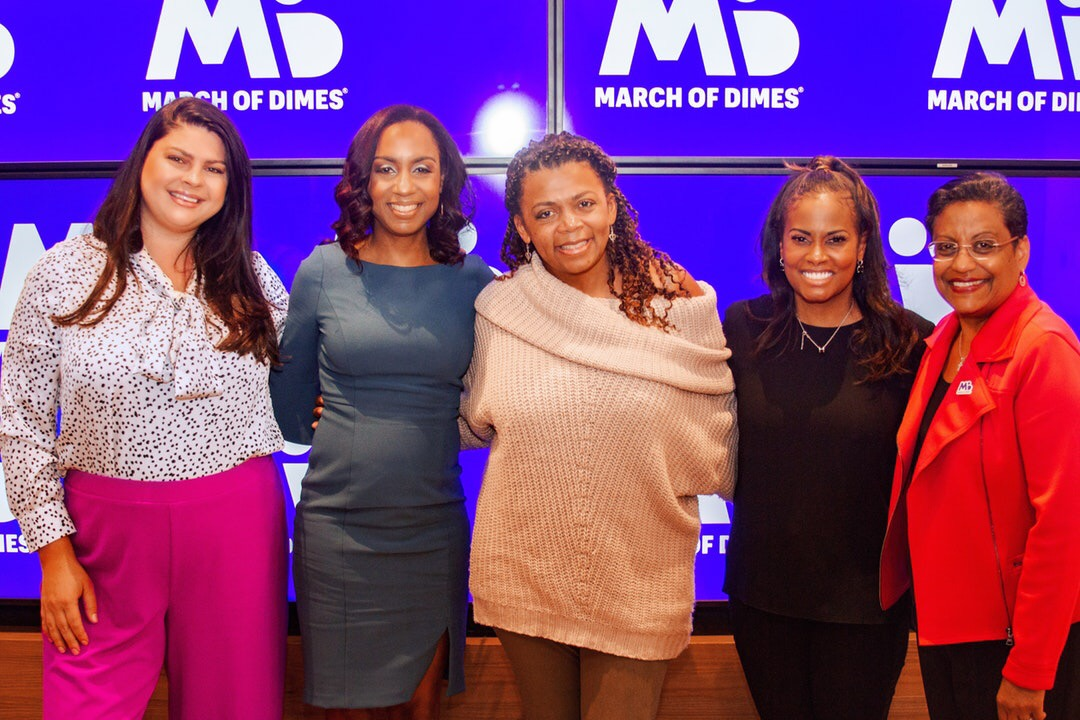 From left to right: Melinda Parrish, Dr. Monique Rainford, Dr. Joia Crear-Perry, Dr. Lynne Lightfoote, Stacey D. Stewart ( March of Dimes President )