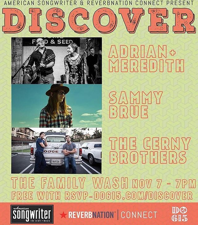 #Nashville friends, we've got a killer show tonight! Join @reverbnation and @amersongwriter at @familywash featuring @adriankrygowski, @sammybrue, and @thecernybrothers. FREE with RSVP on @do615!