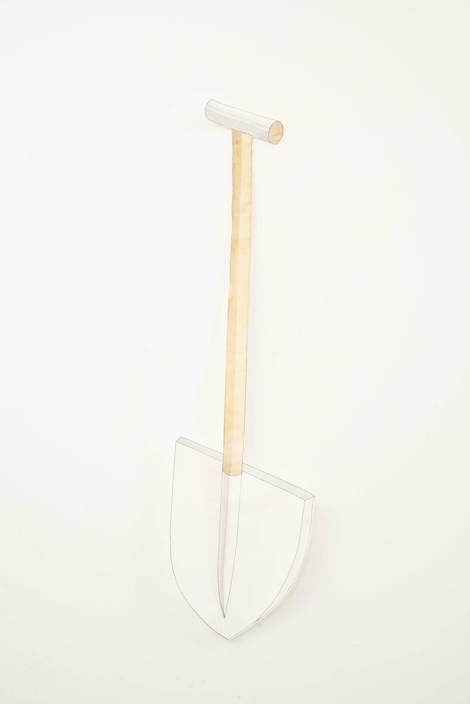 Shovel, 2014, Watecolour, pencil, paper, 106.0 x 29.0 cm, Unique object