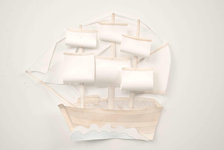Ship, 2014, Watercolour, thread, pencil, paper, 53.0 w x 48.0 h cm, Unique object