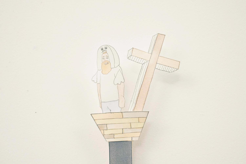 Little Ken with Ark on Stick, 2014, Watercolour, pencil, thread, paper, 11.0 cm x 8.5 cm, Unique object