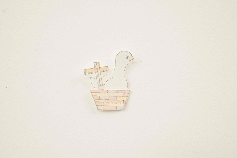Little Ark and Swan, 2014, Watercolour, pencil, paper, 2.0 x 4.0 cm, Unique Object