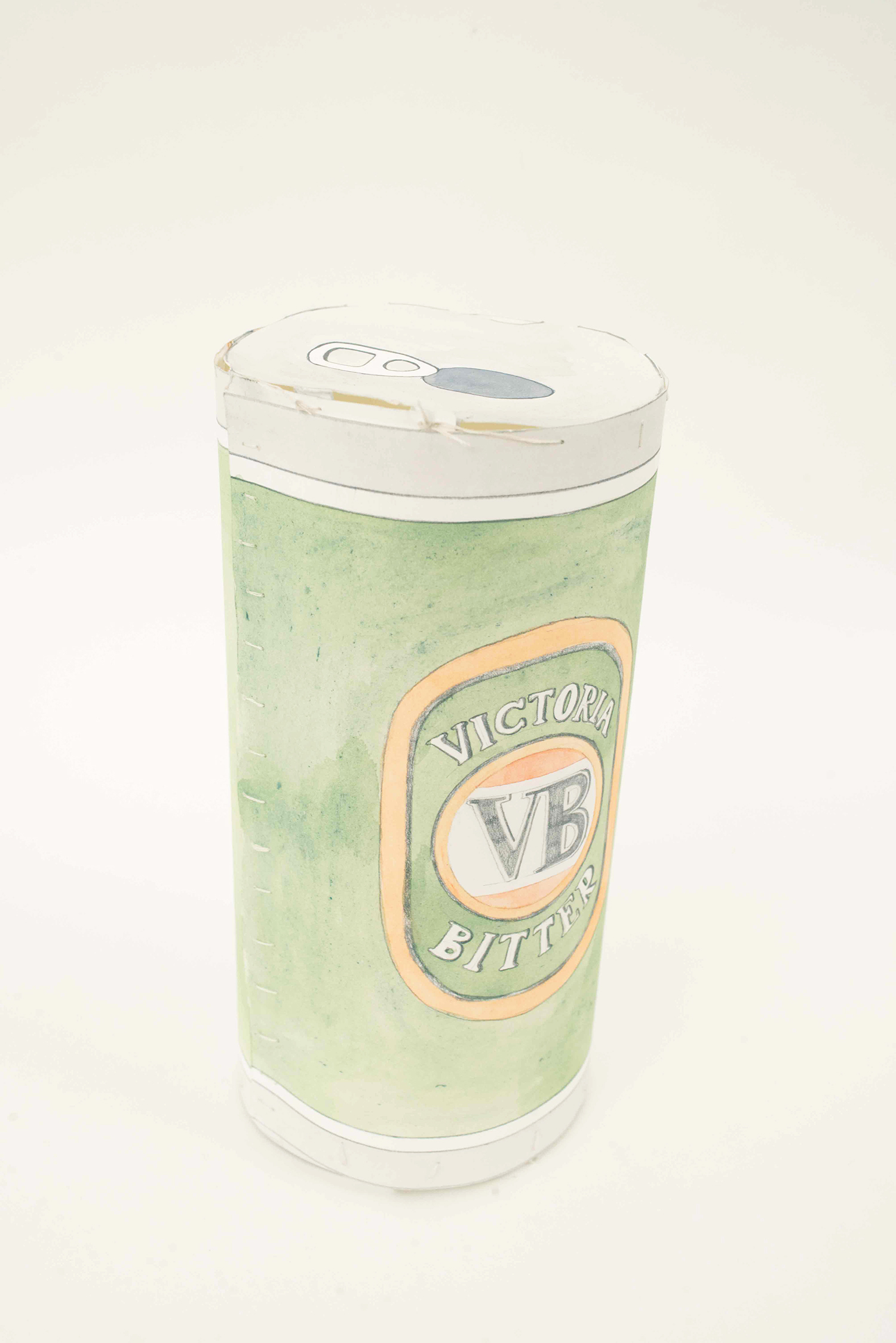 Beer Can, 2014, Watercolour, pencil, thread, paper, 20.0 x 9.5 cm, 1 of 5