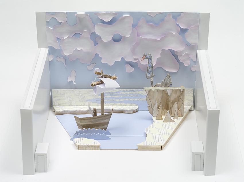 Swan Song Model, 2014, Paper, watercolour, pencil, balsa wood, foam core and string, 40.0 x 30.0 x 20.0 cm, Photo: Carl Warner and Museum of Brisbane