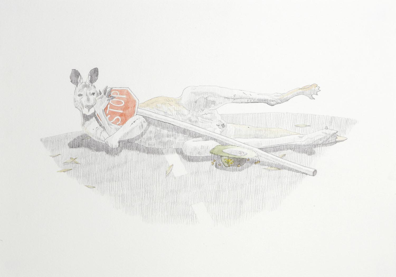Car Jack, 2012, Watercolour and pencil on paper, 29.0 x 42.0 cm, Photo:Sam Scoufos