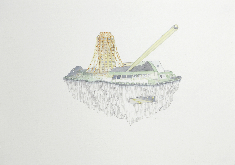 Tasmanian Casino, 2012, Watercolour and pencil on paper, 29.0 x 42.0 cm, Photo: Sam Scoufos