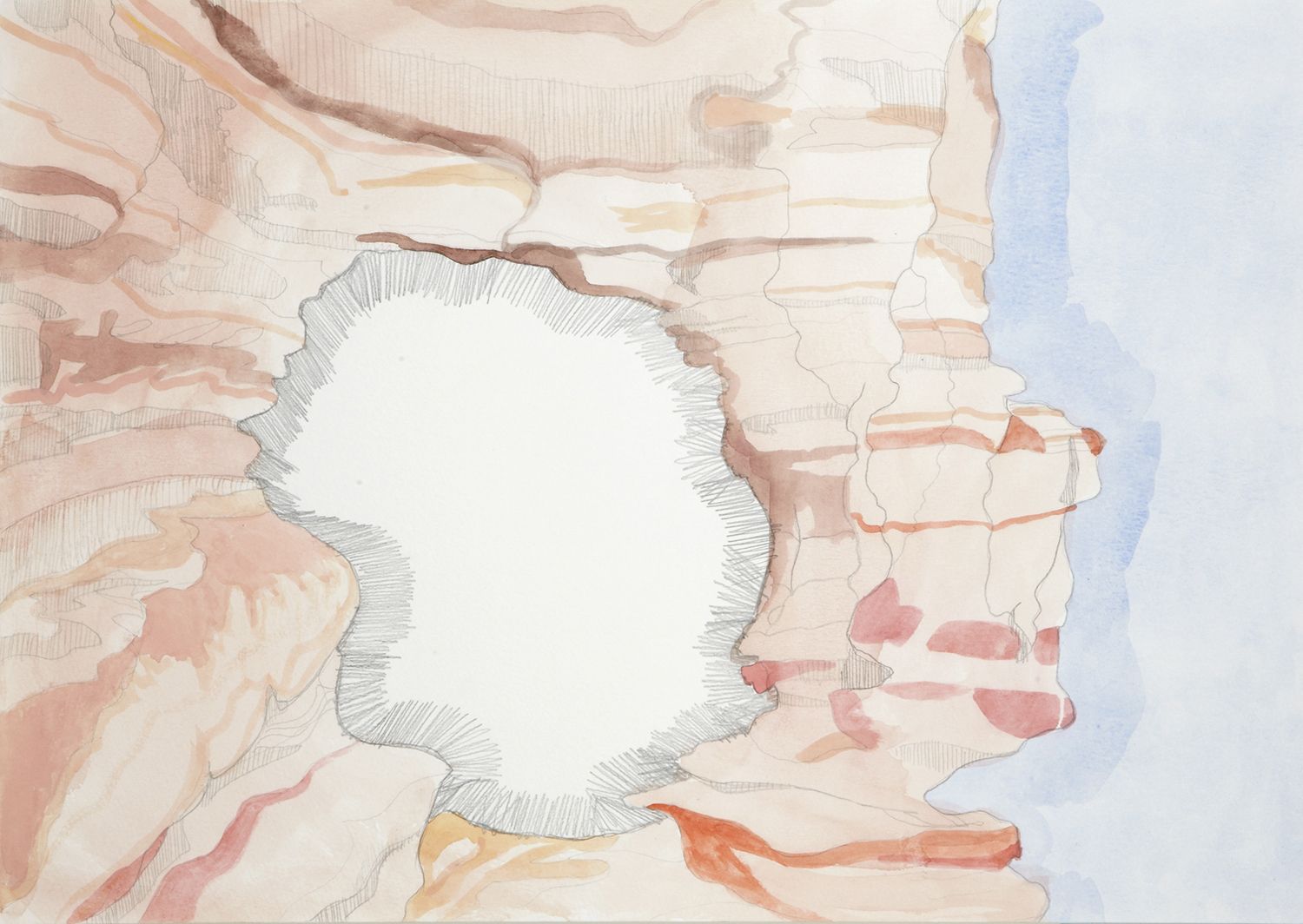 Caving, 2012, Watercolour and pencil on paper, 29.0 x 42.0 cm, Photo: Sam Scoufos