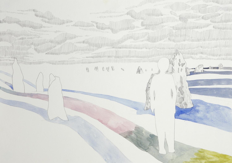 Plateau, 2012, Watercolour and pencil on paper, 29.0 x 42.0 cm, Photo: Sam Scoufos