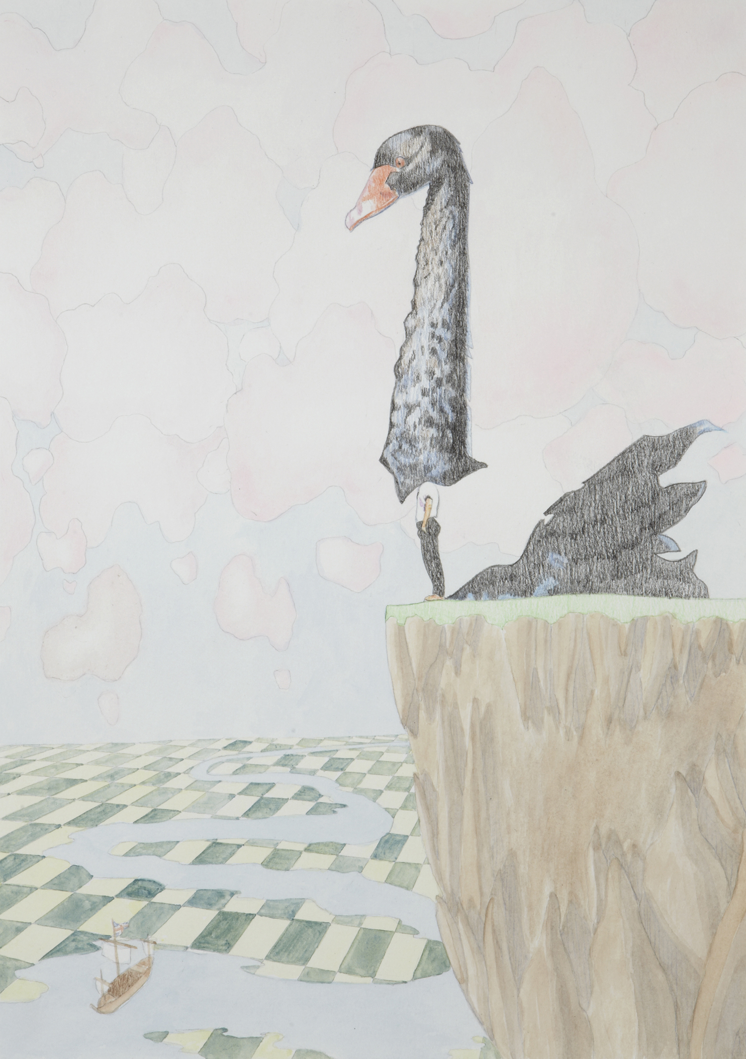 Swan Song #3, 2012, Watercolour and pencil on paper, 29.7 x 42.0 cm, Photo: Sam Scoufos