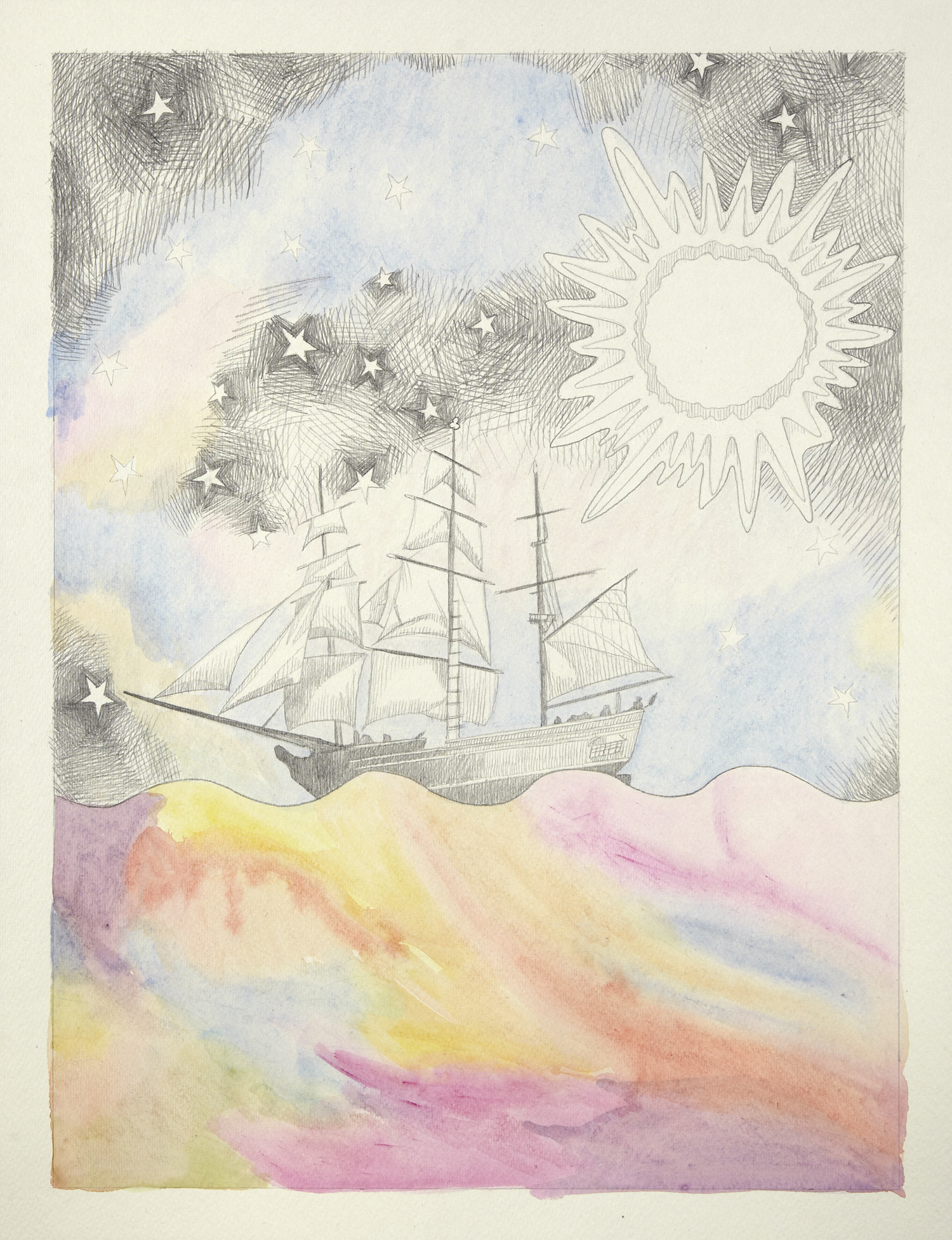 Boat and Bright #2, 2012, Watercolour and pencil on paper, 30.0 x 40.0 cm, Photo: Sam Scoufos