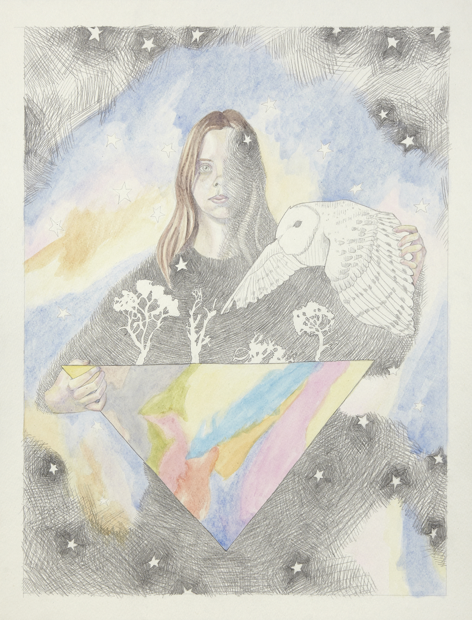 Triangle and Owl #2, 2012, Watercolour and pencil on paper, 30.0 x 40.0 cm, Photo: Sam Scoufos