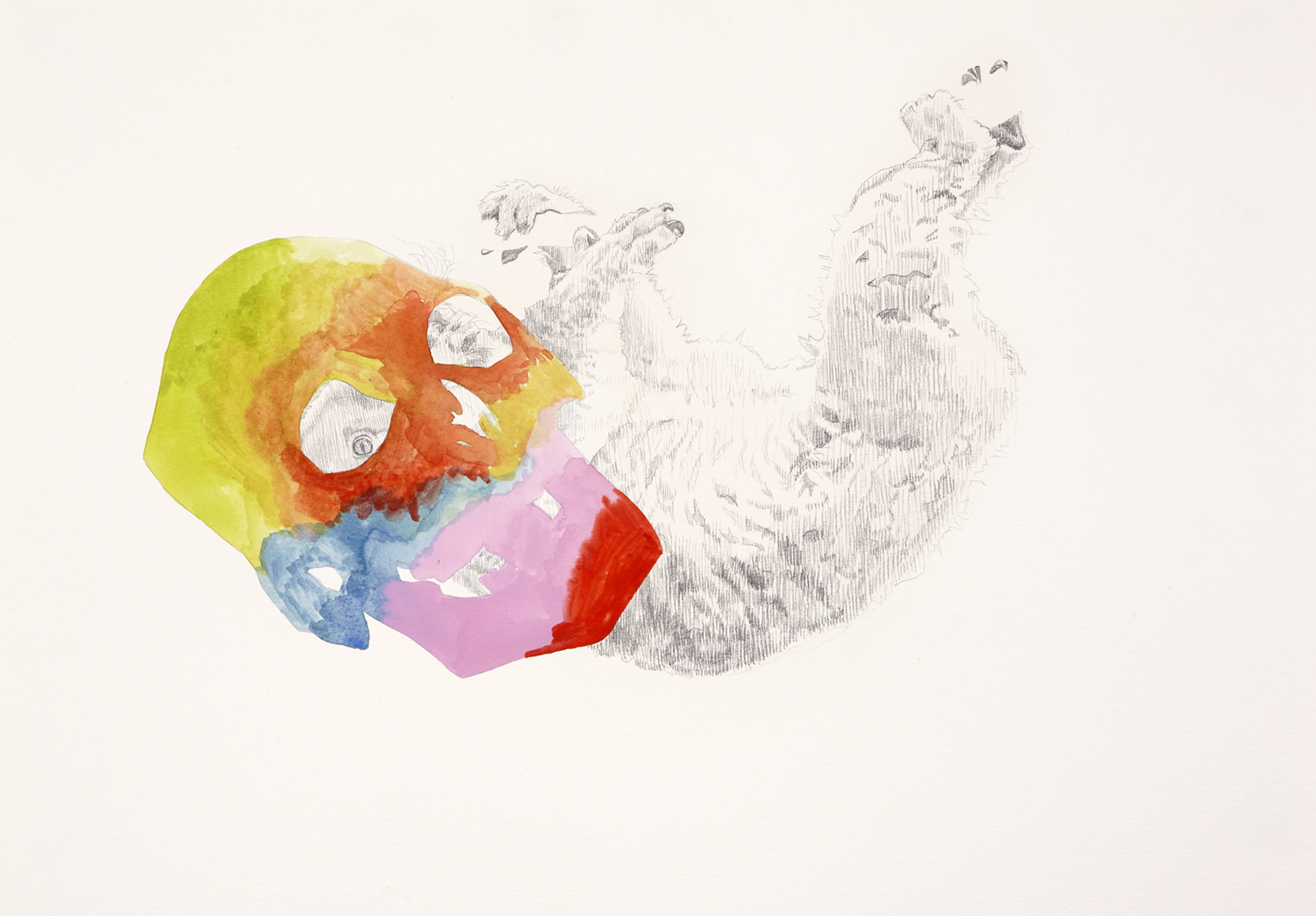 Skull Centric Behaviour #10, 2011, Watercolour and pencil on paper, 42.0 x 29.7 cm, Photo: Sam Scoufos