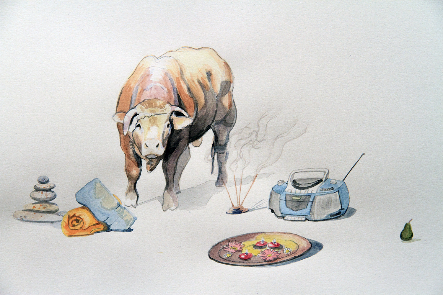 Load of Bull, 2010, Watercolour on paper, 29.7 x 42.0 cm, Photo: Michaela Gleave