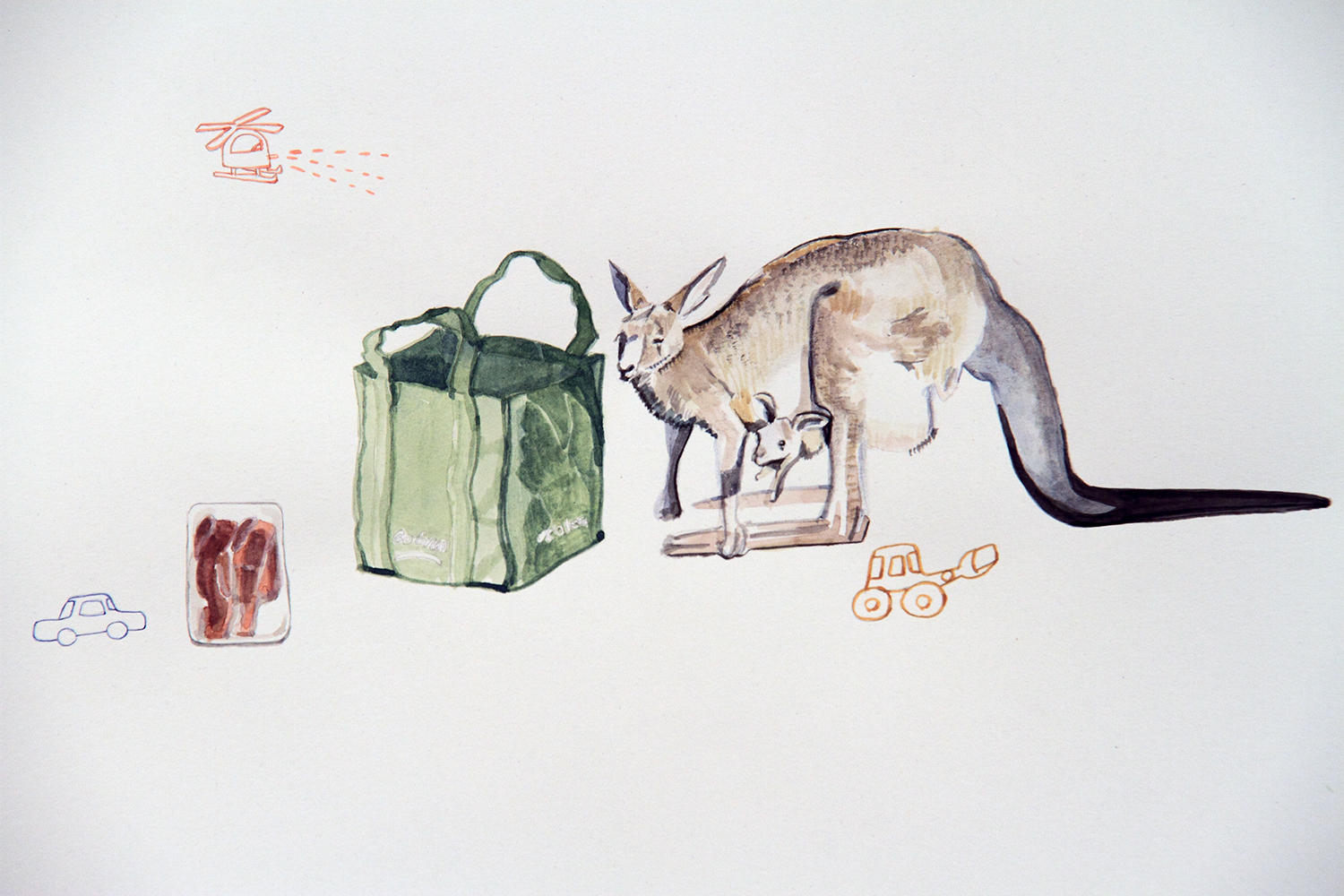 Skippy the Bush Kangaroo, 2010, Watercolour on paper, 29.7 x 42.0 cm, Photo: Michaela Gleave