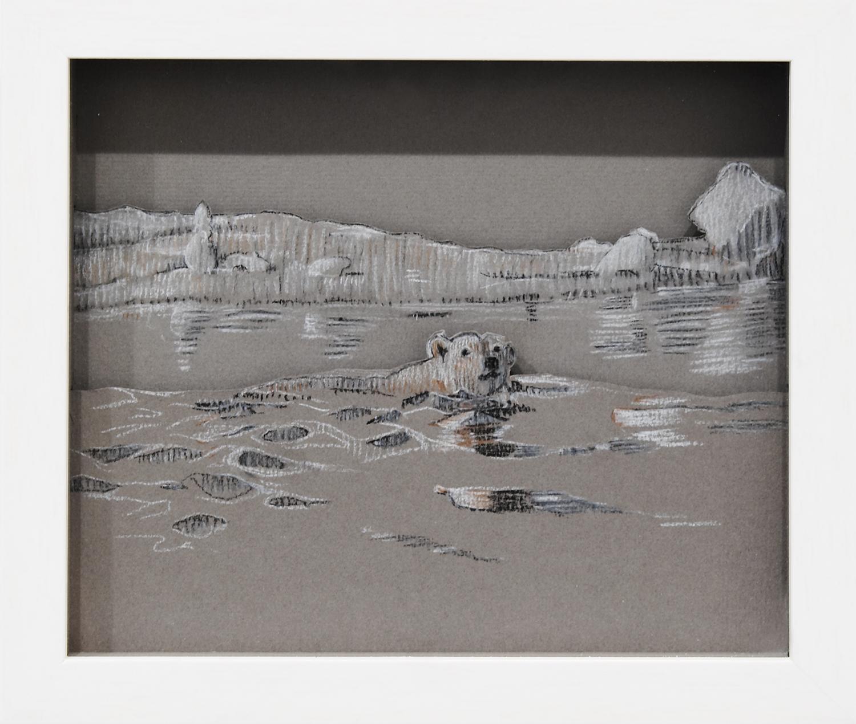 Polar Bear, 2008, Pastel on card, 24.2 x 21.0 x 3.8 cm