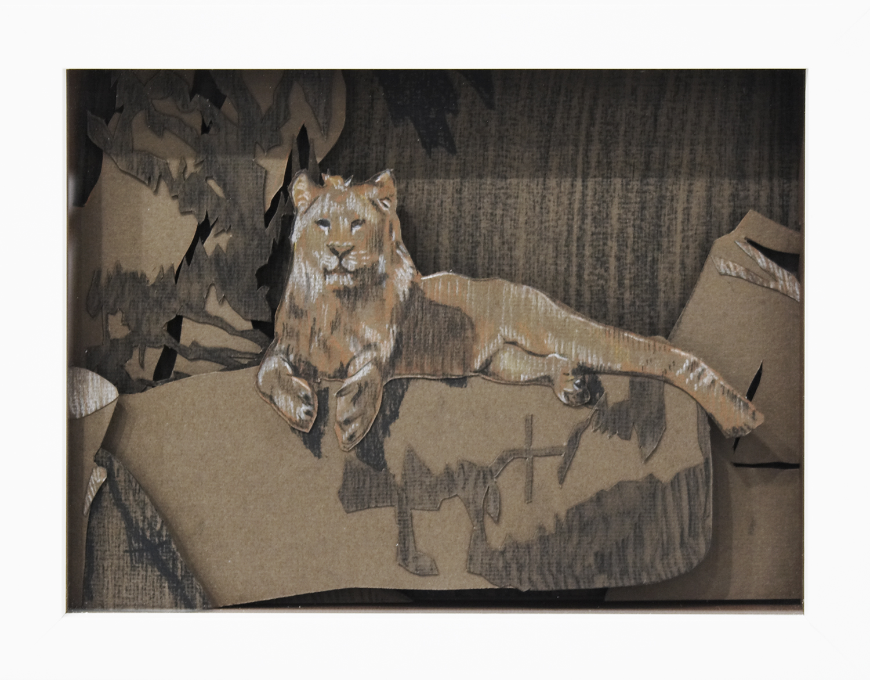 Lion, 2008, Pastel on Card, 28 x 22 x 3.8 cm