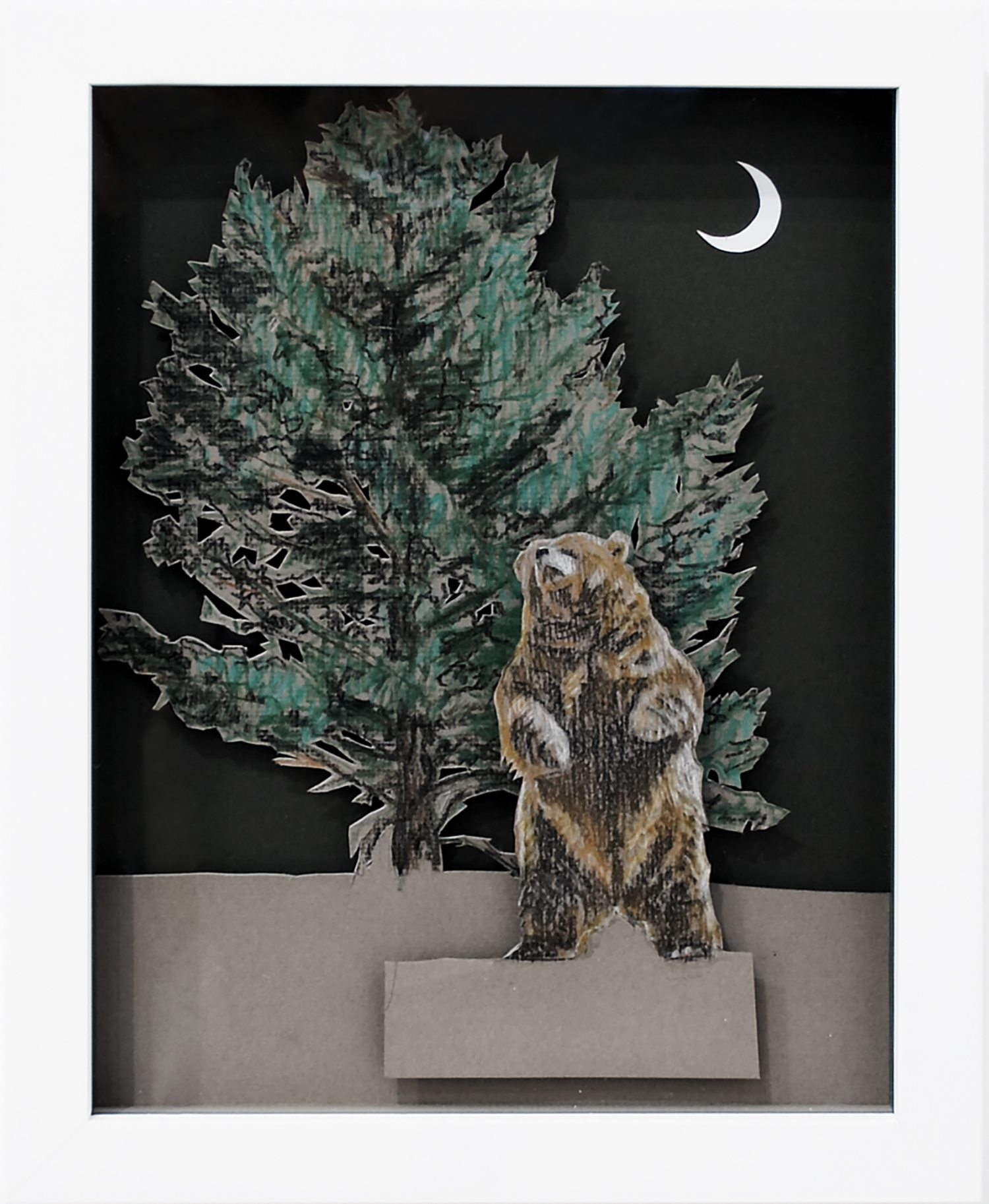 Rearing Brown Bear, 2008, Pastel on card, 24 x 30 x 3.8 cm