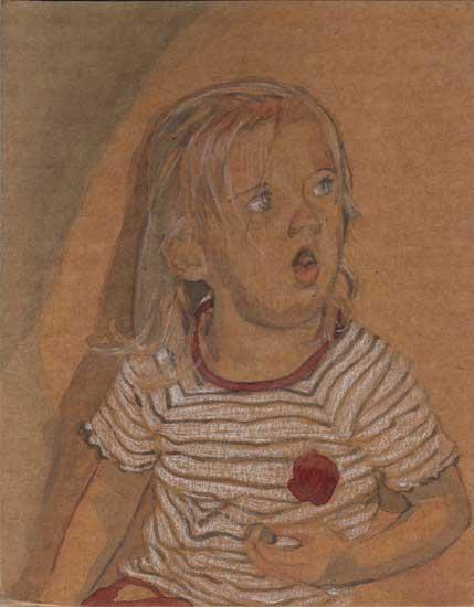 Girl, 2005, Pastel, gouche on cardboard, 14 x 10 cm
