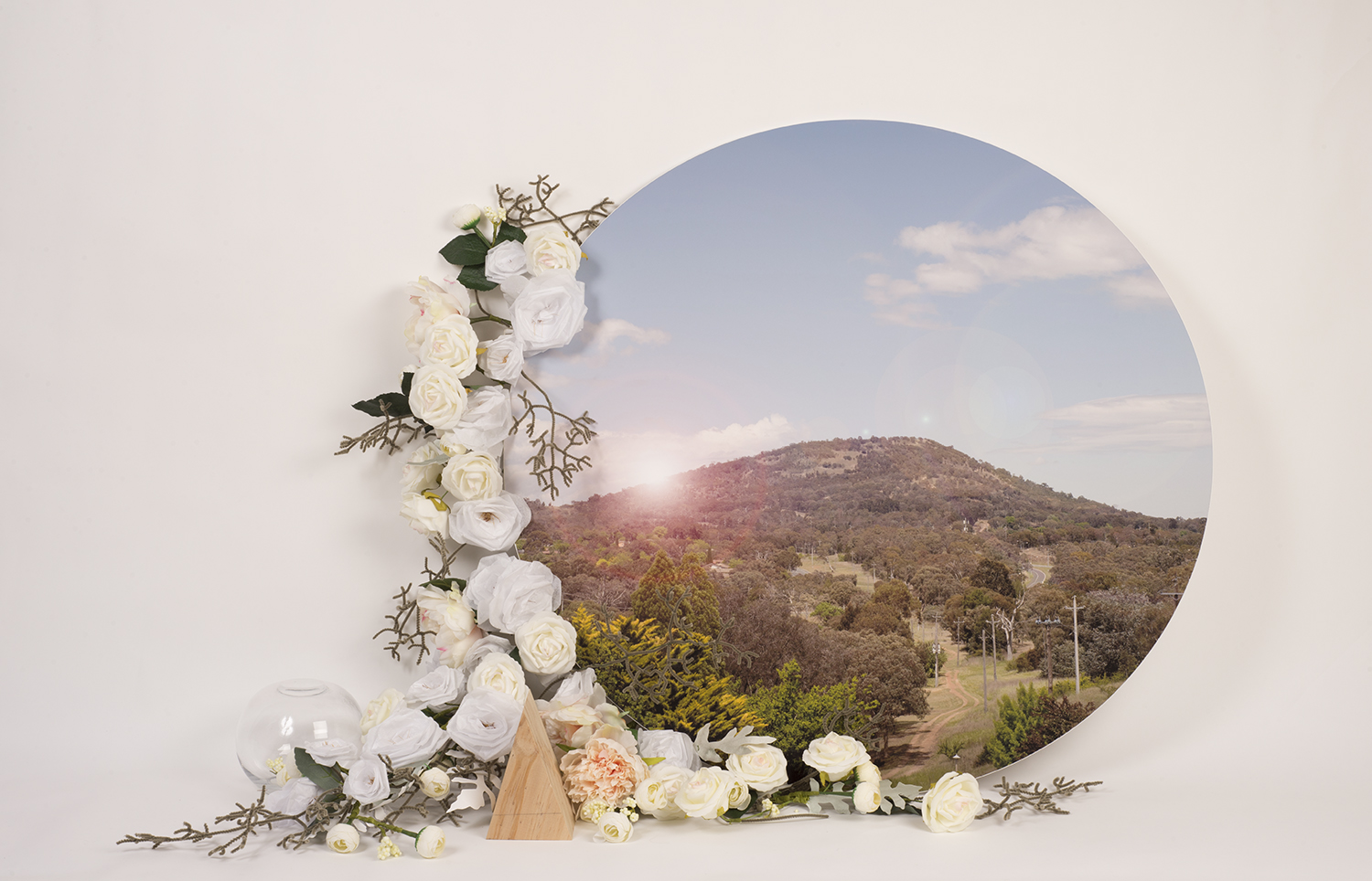 Circle, 2017-2018, Mounted photograph, paper, thread, pipe cleaners, pine, glass, floristy wire, floristry tape, 120 x 80 x 20 cm, image credit: Camille Serisier